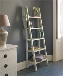white leaning ladder shelf with desk mintra 5 tier leaning