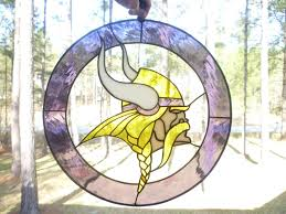 hand made minnesota vikings sports stained glass panel by the last