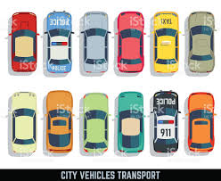 vehicle top view cars top view vector flat city vehicle transport icons set stock