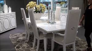 Michael Amini Dining Room Furniture Sky Tower Rectangular Dining Room Set In White By Michael Amini