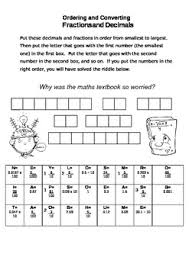 ordering u0026 converting fractions and decimals fun riddle worksheet