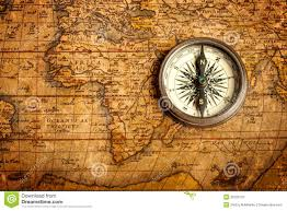 Compass Map Old Vintage Compass On Ancient Map Royalty Free Stock Photography
