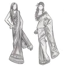 drawn gown indian pencil and in color drawn gown indian