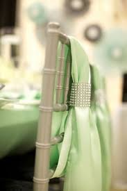 Mint Green Chair Sashes Chair Covers And Rhinestone Mesh Chair Ties Wedding Bling