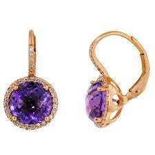 amethyst earrings dabakarov amethyst earrings in 14kt gold with diamonds 1 7ct
