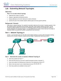 9 1 4 9 lab subnetting network topologies ip address router