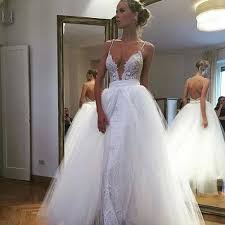 charming spaghetti straps wedding dress deep v neck wedding dress