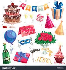 wine birthday candle birthday party decorative icons set multilevel stock vector