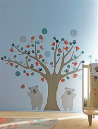 stickers arbre chambre enfant lot de 148 stickers élements tissus arbre thème doudou flo taupe