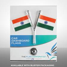 The Flag Of India Dual Indian Miniature Car Dashboard Flags With A Chrome Plated Y