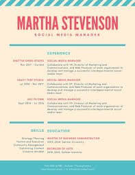 coral and teal striped colorful resume templates by canva