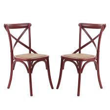 Dining Armchairs Joveco Elm Wood Dining Chair With Woven Rattan Seat Deep Red