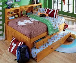 colorful kids boys room design present light wood full size bed