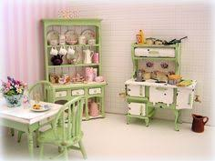 Cottage Kitchen Hutch Dollhouse Miniature Shabby Cottage Kitchen Table And Chairs In
