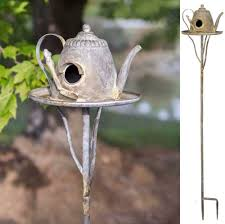 decorative distressed rustic country metal teapot tall garden