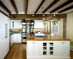 kitchen island hanging pot racks exposed rafters kitchen traditional with island in gas and