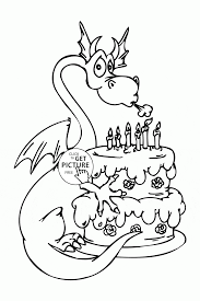 dragon and happy birthday cake coloring page for kids holiday
