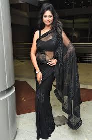 tollywood mehek in transparent plain black colour saree