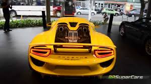 porsche spyder yellow porsche 918 spyder no brasil start up u0026 rev youtube