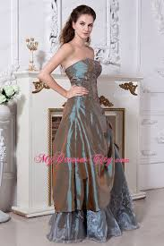 taffeta and organza strapless embroidery olive green prom dress
