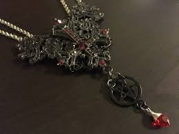 inverted cross satanic rosary red and black inverted pentacle