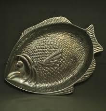 pewter platter large aluminum pewter metal fish dish serving platter plate bowl