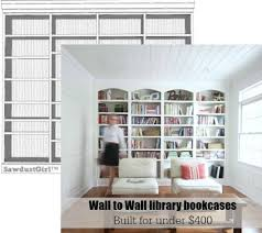 How To Build In Bookshelves - library wall to wall bookcases free plans sawdust within