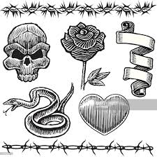 tattoo designs skull snake heart rose barbed wire vector art