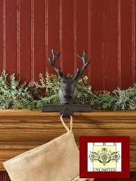 holders rustic reindeer hangers mantle