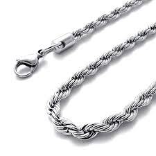 steel necklace chains images Men 39 s 3mm silver stainless steel necklace rope chain 23 inch jpg