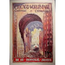 Chicago World S Fair 1893 Map by Huge 1933 Chicago Worlds Fair Century Art Poster