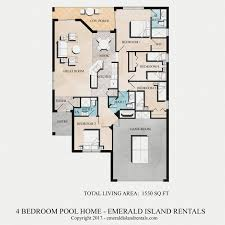 vacation home floor plans emerald island 4 bed vacation home floor plan