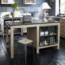 comptoir de cuisine maison du monde îlot central en pin recyclé copenhague meuble de cuisine maisons