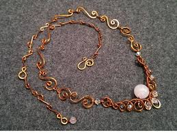 wire jewelry necklace images How to make necklace with pink quartz handmade copper wire jpg