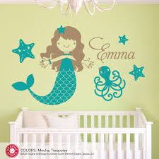 Name Wall Decals For Nursery by Starfish Mermaid Wall Decal Sticker Ocean Octopus U0026 Name Children