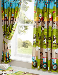 Amazon Bedroom Curtains Farm Yard Animal Cow Tractor Fully Lined Bedroom Curtains Set 66