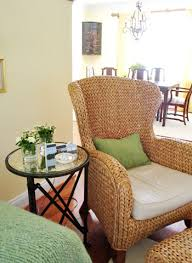 wicker living room chairs house crashing downsized upgraded mirrored side tables wicker
