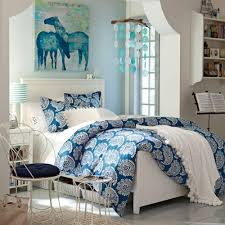 Small Teenage Bedroom Decorated With Paisley Wallpaper And by Blue Teen Bedroom Home Design And Decor