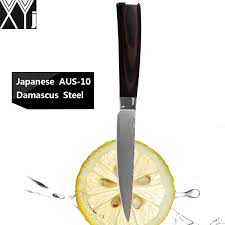 xyj brand damascus knives 5 inch utility kitchen knives 67 layers