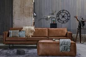 canapé retro canapé vintage cuir marron clair 4 places aspen cuir reconstitué