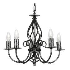tuscany 5x60w candle style hanging light fitting black silver