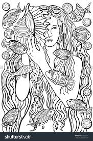 beautiful with abstract hair marine design coloring page for