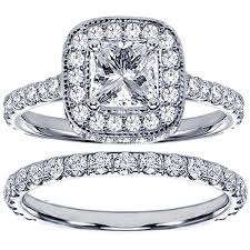 diamond wedding ring sets for 2 42 ct tw pave set diamond encrusted princess cut