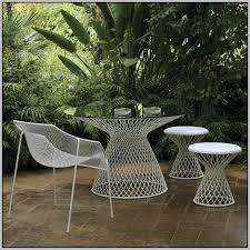 White Metal Patio Chairs Wood Top White Metal Frame Outdoor Dining Table Design Notations