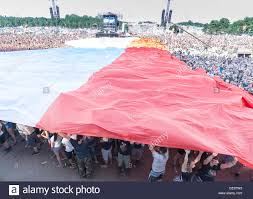 polish flag spread by audience to commemorate the 71st anniversary