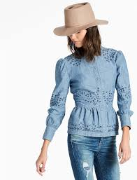chambray blouse peplum chambray shirt with embroidered eyelet lucky brand
