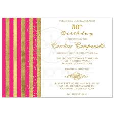 50th birthday invitation pink white gold stripes faux