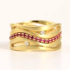 bridal gold ring ruby diamond 18k gold 3 ring bridal set wave 2616982 weddbook