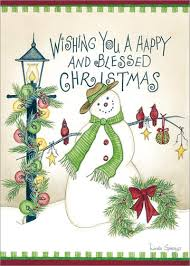 a happy and blessed spivey snowman card