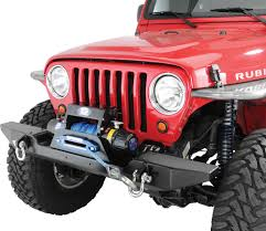 jeep yj winch hyline offroad 250100110 front winch bumper in textured black